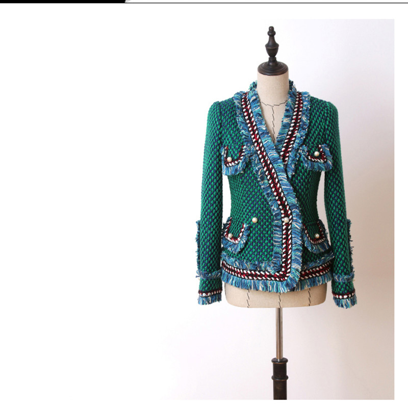 Handmade 2019 Runway Luxury Fashion Green Tweed Blazer Suits Fringed Trim Long Flared Sleeves Front Pockets With Pearls Detail