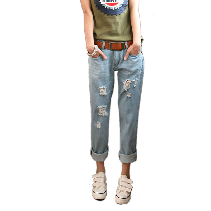 New Spring and winter women's jeans Slim Hole frayed pants feet brand new fashion woman pencil pants denim pant skinny sexy