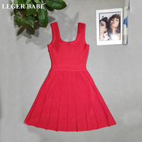 LEGER BABE Red Sleeveless A Line Pleated Rayon Bandage Dress Women Vestidos High Quality Hollow Out Cocktail Party Dress