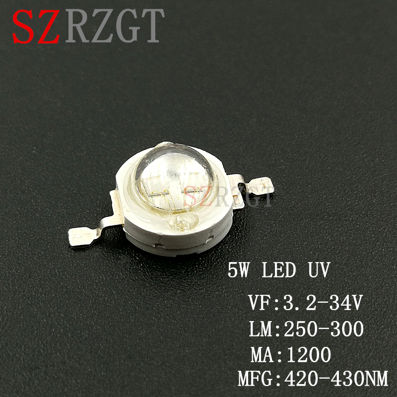 1pcs 4-chips 5W 365nm UV LED ultraviolet high power led bead with 20mm star