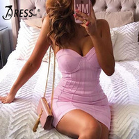 INDRESSME Women Bandage Dress Strapless Sexy Pink Sleeveless Club Dress Celebrity Party Runway Dress 2019 New Vestidos Verano