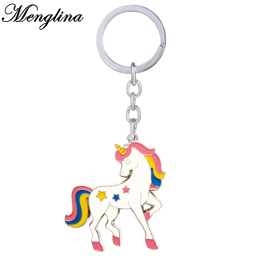 Menglina Fashion Cartoon Unicorn Keychain Multicolor Enamel Horse Key Rings For Women Bag Accessories Llaveros Animales 170813