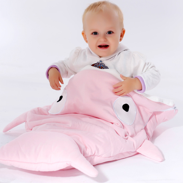 New Girls/Boys cotton sleep bag newborn shark sleeping bag stroller bed swaddle blanket wrap cute cartoon sleeping bags 64*83cm