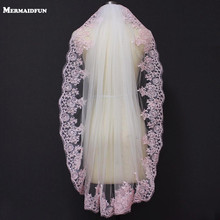 Real Images Short Pink Lace White Ivory Tulle Bridal Veil with Comb One Layer Elegant Wedding Velo Novia