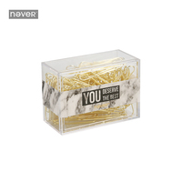 Never Marble Paper Clip Kawaii Metal Paper Clips Gold Document Clips Klips Fashion Business Office Accessories