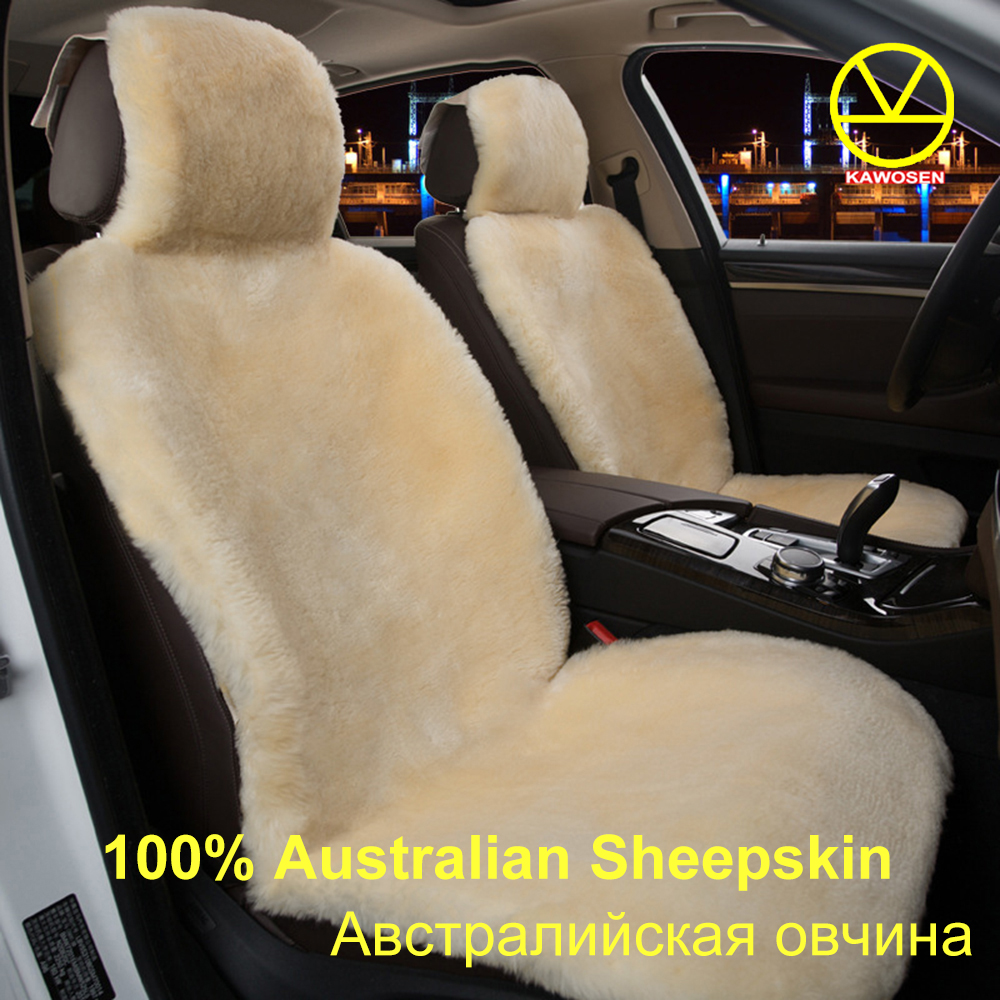KAWOSEN 2 PCS Australian Sheepskin Fur Seat Cover,Super Warm Universal Car Seat Cover,1 Pair Wool Car Seat Covers Cushion WSCP02 ogland natural fur comfort authentic fluffy sheepskin car seat cover for soft car seat cushion made of australia wool automobile