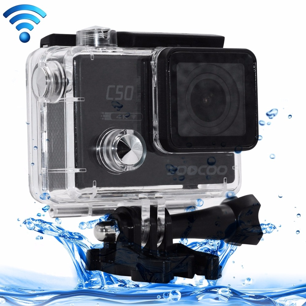 SOOCOO C50 4K HD WiFi Sport Action Camera 2 inch LCD Screen 12MP Camcorder with Waterproof Case 170 Degrees Wide Angle Lens soocoo c30 sports action camera wifi 4k gyro 2 0 lcd ntk96660 30m waterproof adjustable viewing angles