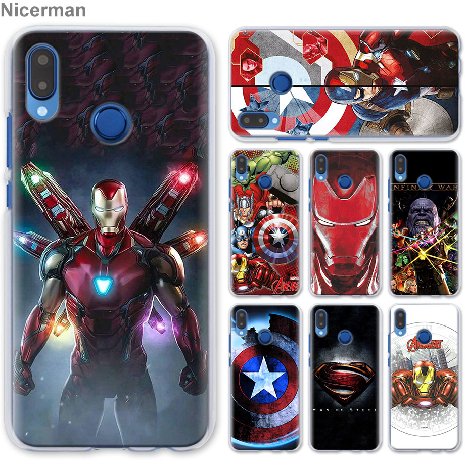 Phone <font><b>Case</b></font> for Honor Y9 <font><b>Y7</b></font> Y5 Y6 Y9 <font><b>2019</b></font> Honor 10 20 Lite 8X 8A Play Clear Cover <font><b>Marvel</b></font> Avengers Iron Man Captain America Capa C image