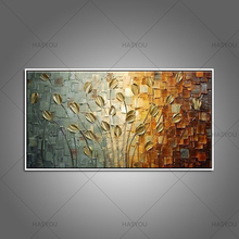 100% Original Handpainted Golden Leaves Modern Oil Painting On Canvas Wall Art Pictures For Living Room Home Decor