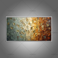 100% Original Handpainted Golden Leaves Modern Oil Painting On Canvas Wall Art Wall Pictures For Living Room Home Decor