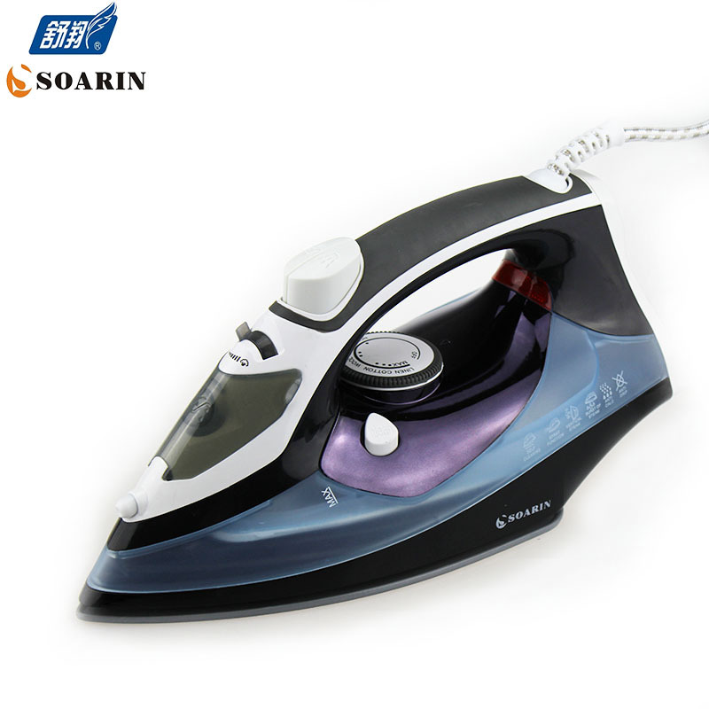 1800W Teflon Non Stick Baseplate Iron Steamer for Clothes Household Electric Iron Handheld Steam Iron Ceramic Baseplate Ironing