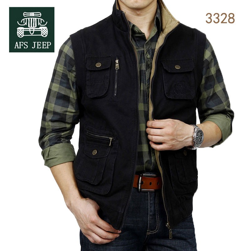 M~3XL 2015 Autumn Spring Reversible Casual Men Vest Coat AFS JEEP Cotton Pocket Cargo Outdoor Sleeveless Jackets Waistcoat Vests (23)