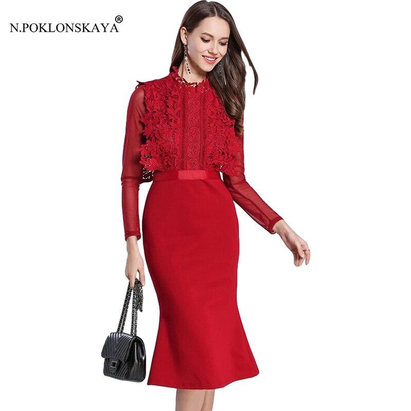 N.POKLONSKAYA High Quality Autumn Dress for Women Long Sleeve Turtleneck Elegant Dress Office Lady Knee length  Work Dresses