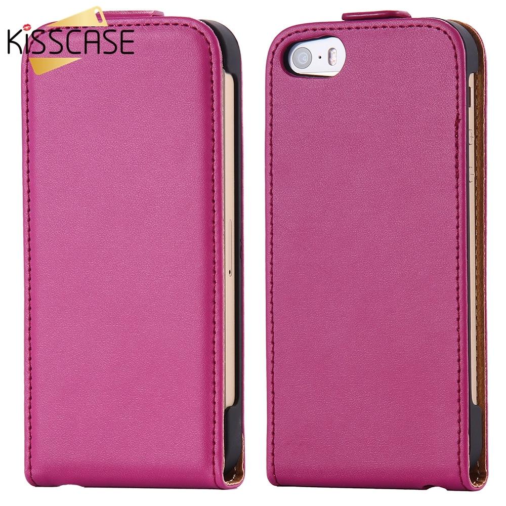Kisscase vertical cubierta del tirón del cuero genuino para el iphone 7 7 plus 5