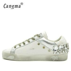 Image 3 - CANGMA Casual Schuhe Marke Turnschuhe Goldene Frauen Silber Diamant Weiß Wohnungen Echtem Leder Schuhe Kristall Gans Trainer