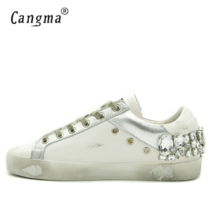 Image 3 - CANGMA  Casual Shoes Brand Sneakers Golden Women Silver Diamond White Flats Genuine Leather Shoes Crystal Goose Trainers
