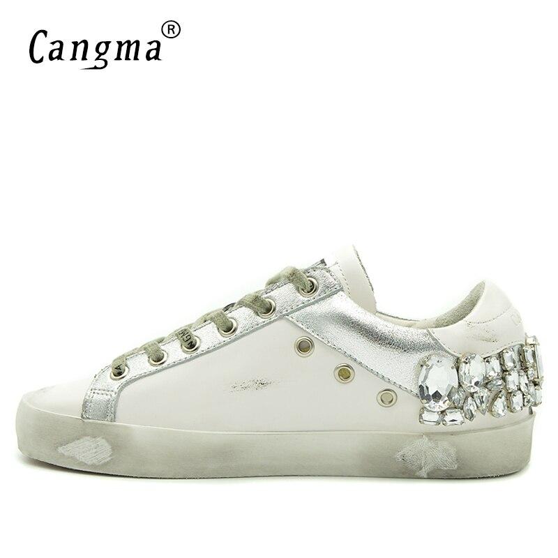 CANGMA buty w stylu casual trampki marki złoty kobiety srebrny diament białe mieszkania prawdziwej skóry buty kryształowe gęsi trenerzy w Damskie buty typu flats od Buty na  Grupa 3