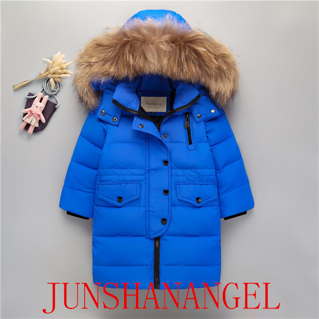 Children's down jacket girls long section 2019 new down jacket real fur collar baby thickening children's winter coat