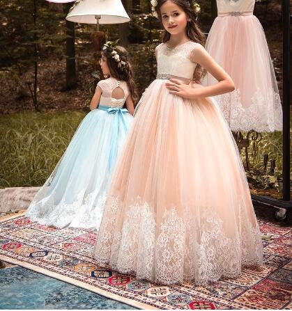 Ball Gown Lace Fluffy Tulle Flower Girls Dresses for Weddings with Beaded Belt Lace Up Back Girls Communion Gown customized ball gown 2018 fluffy flower girls dresses tulle applique lace ankle length sleeveless communion gown actual image