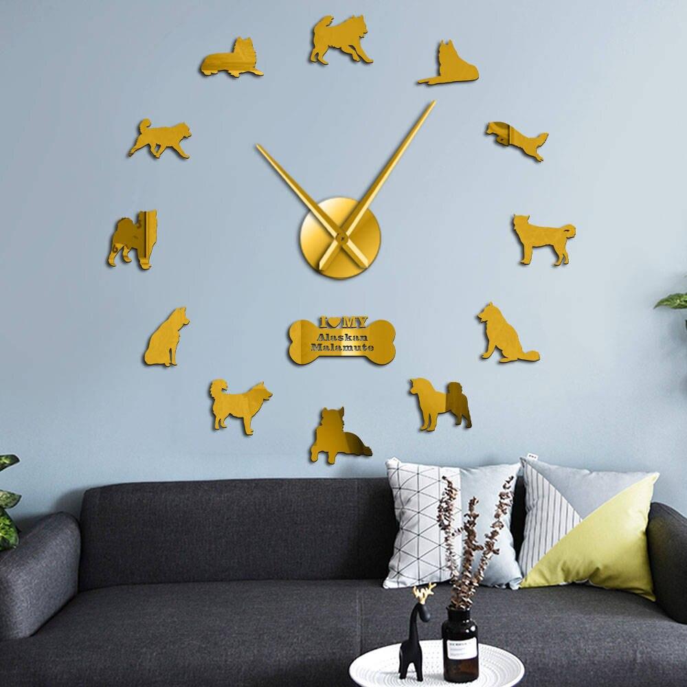 Alaskan Malamute Dog Breed Wall Hanging DIY Wall Clock Housewarming Gift Quartz Acrylic Mirror Sticker Animal Pets Clock Watch