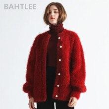BAHTLEE 겨울 여성 앙고라 카디건 스웨터 울 니트 밍크 캐시미어 오 넥 펄 버튼 포켓 두꺼운 따뜻한 유지
