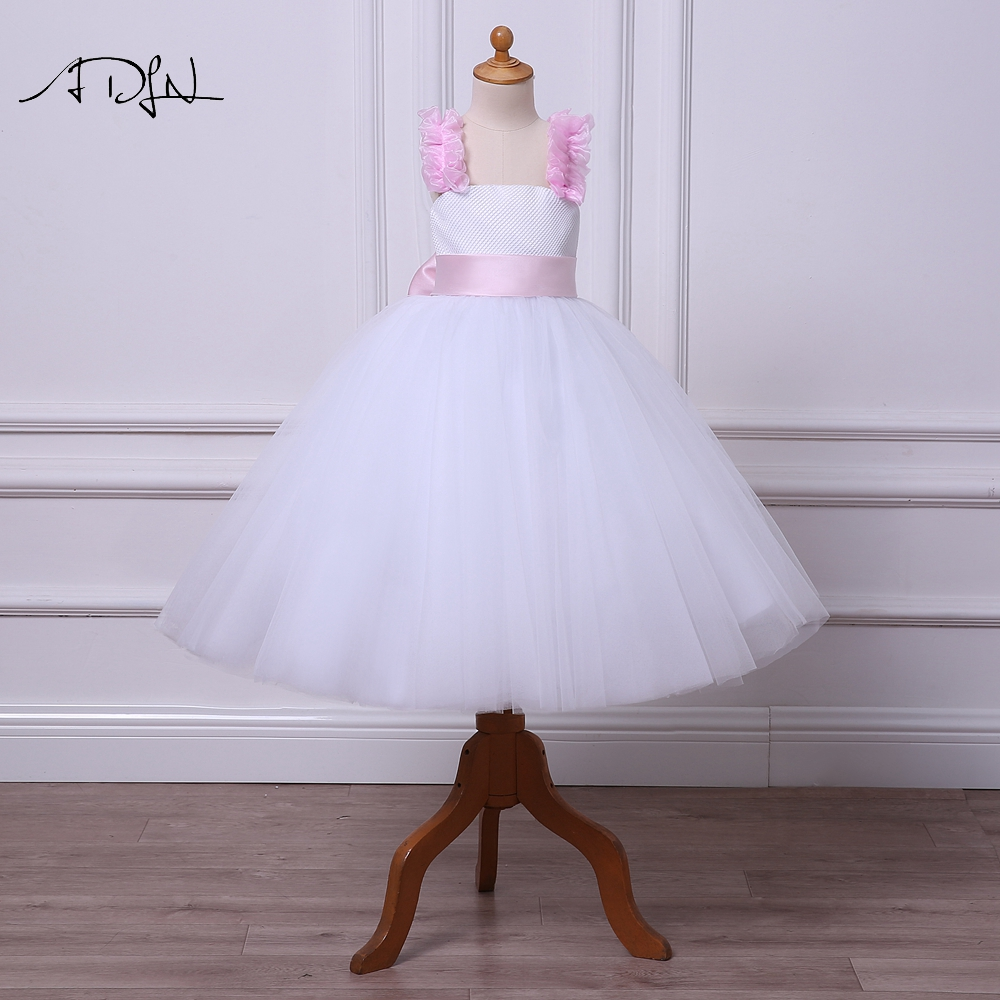 ADLN Romantic Puffy   Flower     Girl     Dress   for Wedding Spaghetti Straps Tulle Ball Gown Communion   Dress   with Sash Pageant Gown
