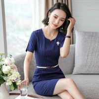 Career Women Work Dress Vintage striped Summer Short Sleeve Hem One Button Design Elegant Business Office Pencil Bodycon Retr