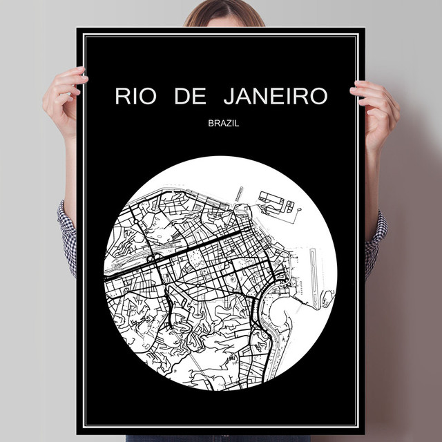black white city map of rio de janeiro print poster print on paper or canvas wall
