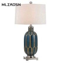 Современные короткие синие meow керамические золотистые настольные лампы Атмосфера спальни креативный узор европейская модель номер отель прикроватное освещение