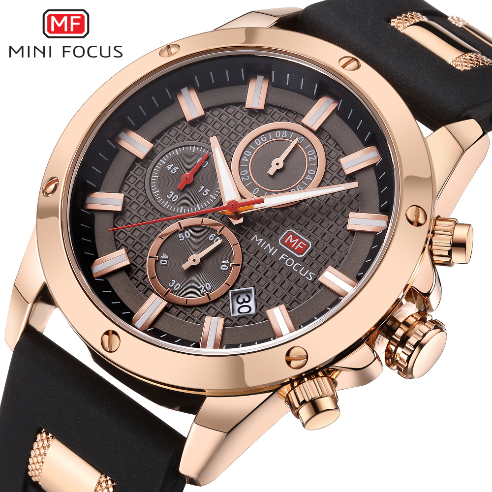 MINIFOCUS de hombre relojes de silicona banda relojes de hombres estudiantes reloj cronógrafo hombres brillo manos reloj MF0089