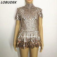Silver Sequins dress sexy female costumes Bright crystals singer dancer nightclub bar show DJ party groom