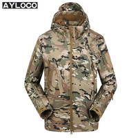 Lurker Camo Shark Skin Soft Shell V4 Military Tactical Jacket Men Waterproof Windproof Warm Coat Hooded