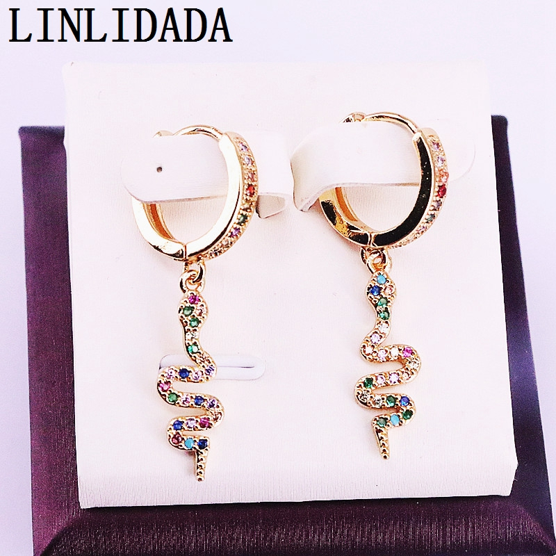 6Pairs Gold color Micro Pave rainbow Cz Snake dangle earring multicolor cubic zirconia charm women trendy