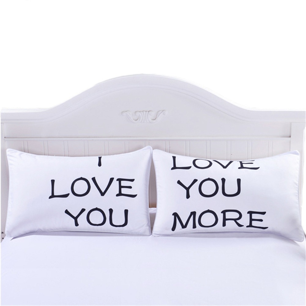 His Hers Kussensloop.4 Styles Romantic Mr Mrs Pillow Case White Couple King Queen I