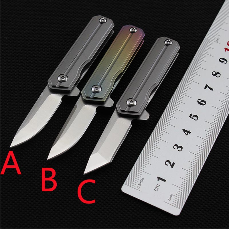58-60HRC Mini key chain pocket knife D2 blade TC4 Titanium handle folding knife EDC pocket knife outdoor camping Survival tool camping equipment pocket edc gear three stages knife sharpener pocket outdoor survival tool fish hook sharpening stone