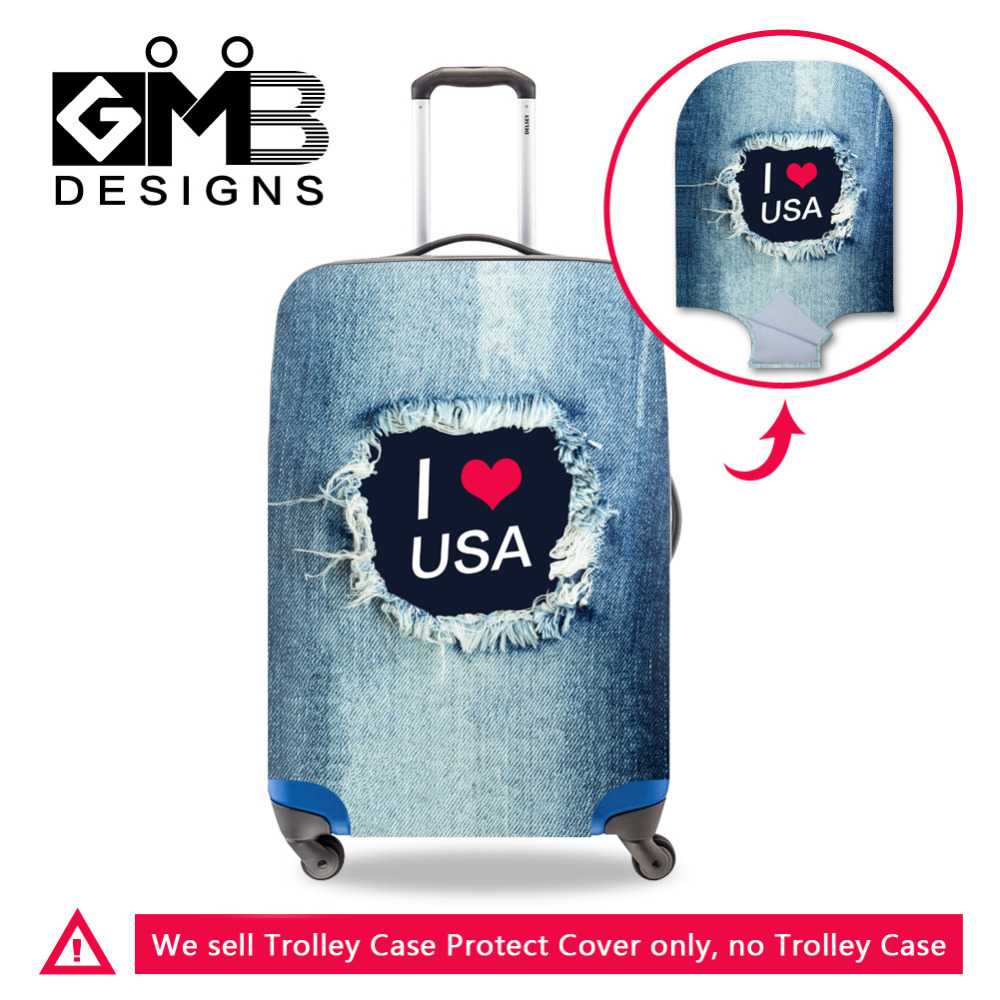 Denim Word Printed Travel Luggage Protective Cover For 18-30 Inch Trolley Case Elastic Stretch Dust-proof Suitcase Protect Cover