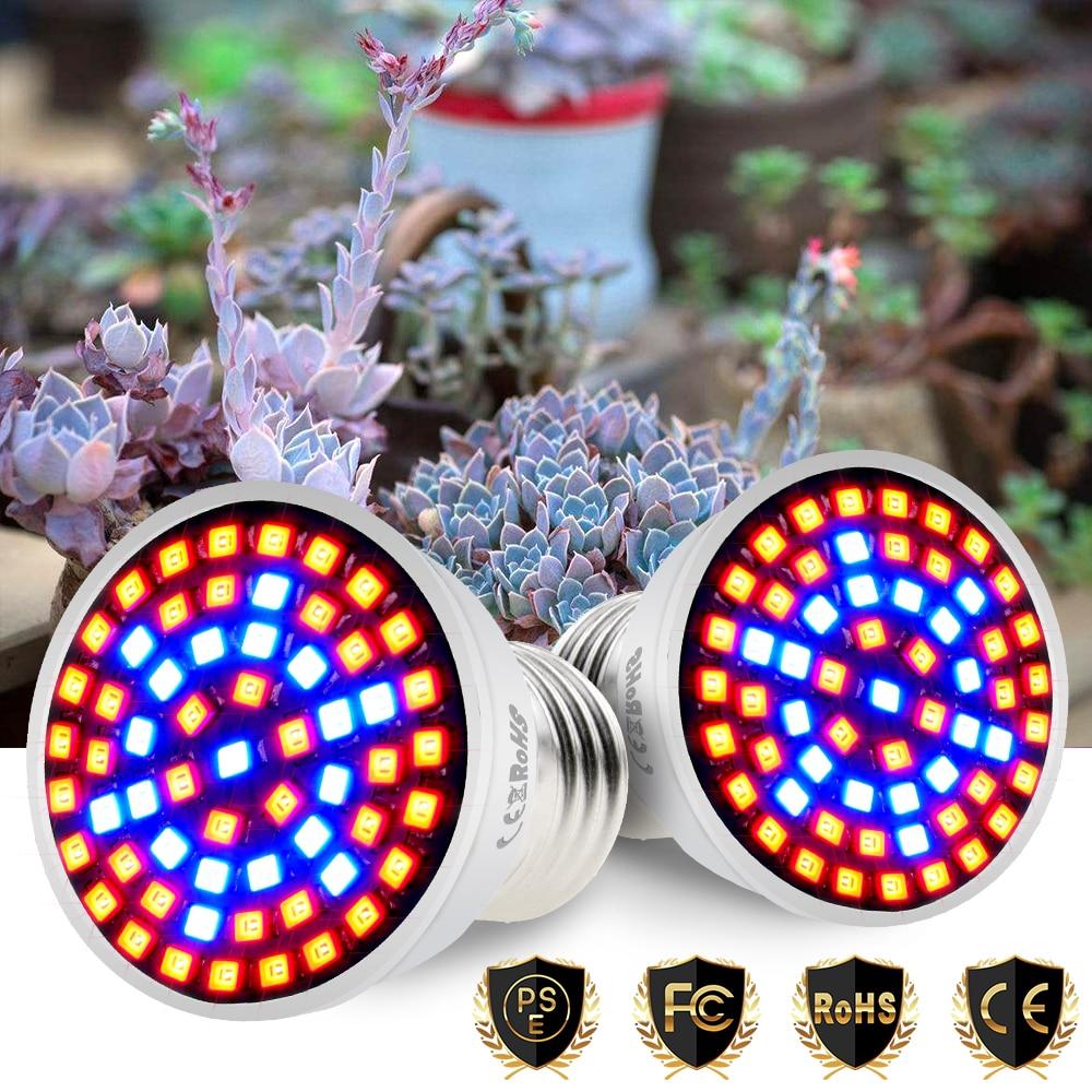 E27 Grow LED Lights E14 LED Full Spectrum GU10 220V Plants Seeds Flower MR16 Grow Bulb B22 48 60 80leds Phyto Lamp For Plants