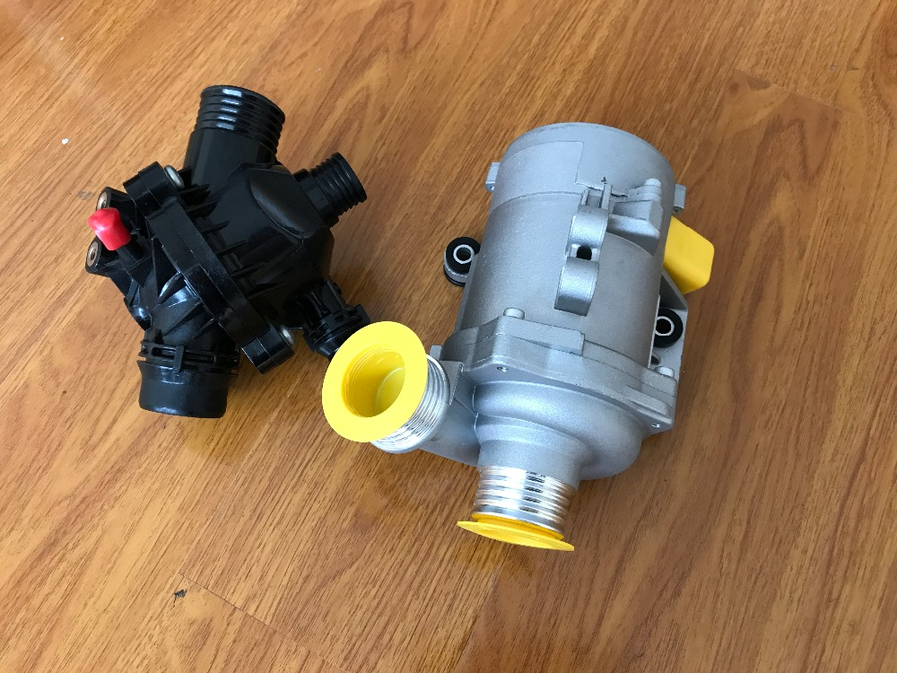 1PCS Electric Engine Water Pump+1PCS Thermostat For BMW X3 X5 328I -528i 128i 11517586925,11537549476 yanmar parts the water pump thermostat type with reference 4tne88