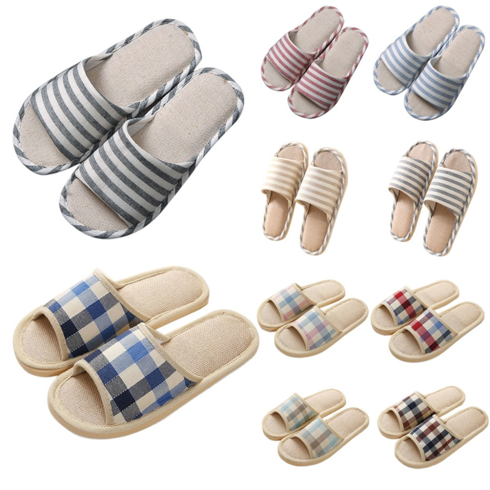Adult Linen Striped Slippers Women House Summer Flax Shoes Indoor Floor Sandals Hot New Size 37-40Adult Linen Striped Slippers Women House Summer Flax Shoes Indoor Floor Sandals Hot New Size 37-40