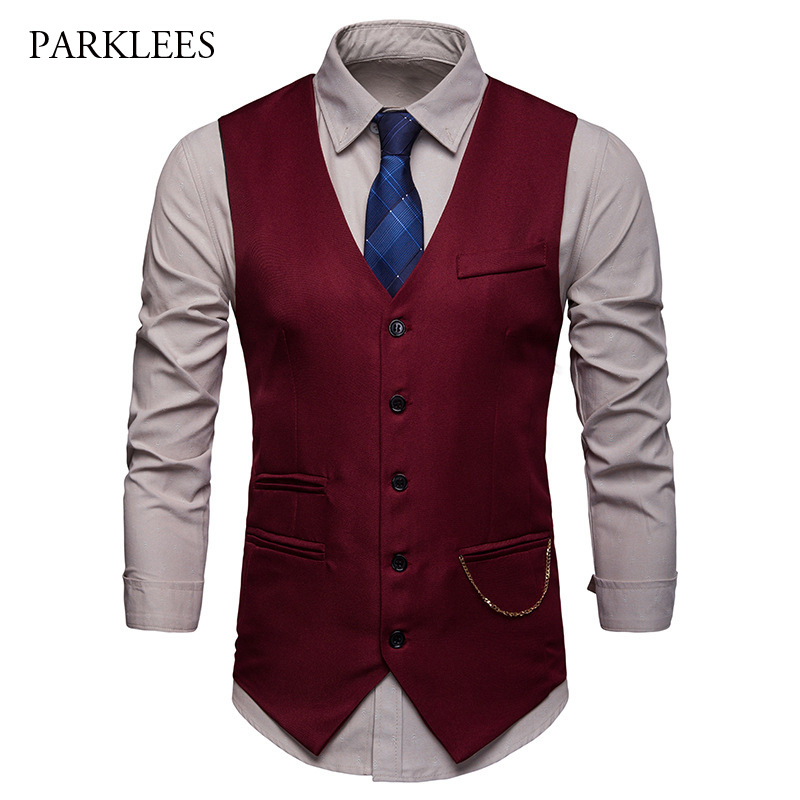 Gilet Chic Gold Chain Vintage Suit Vest Men 2019 Hipster Single Breasted Wedding Red Mens Dress Vest Business Casual Gilet Homme