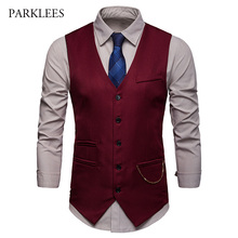Gilet Chic Gold Chain Vintage Suit Vest Men 2019 Hipster Single Breasted Wedding Red Mens Dress Business Casual Homme
