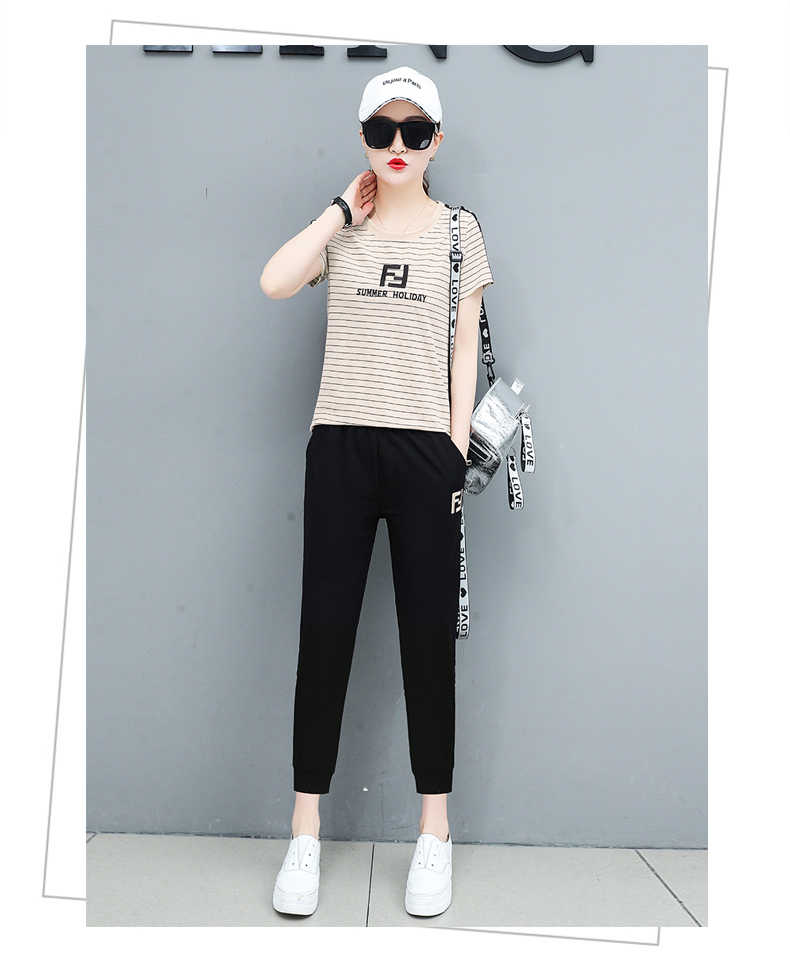 New fashion tracksuit set 2019 Korea Lady suit New Summer Large size Sports suit female trend two piece set top and pants 1249
