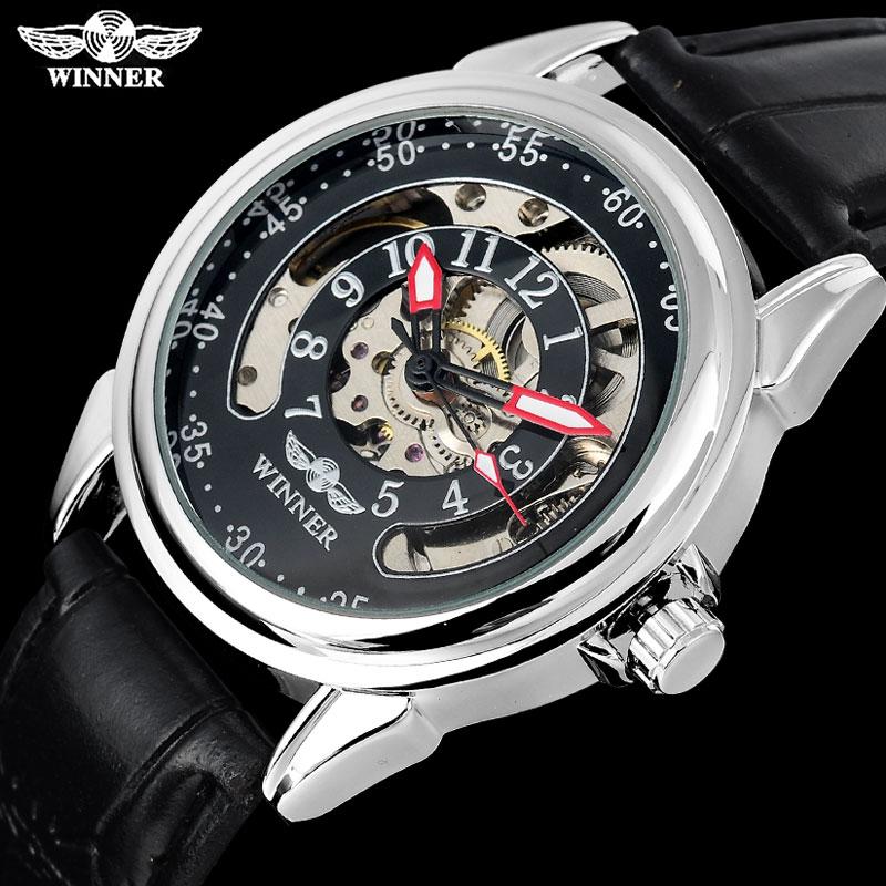 a11382716ec Marca de luxo moda masculina machanical relógios esqueleto automático dos  homens da correia de couro relógios caso de prata relogio masculino