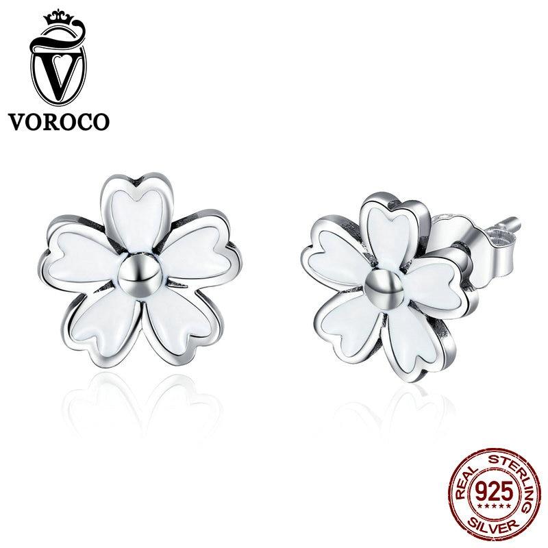 VOROCO Stud-Earring Fine-Jewelry Flower-Design 925-Sterling-Silver Women for Fashion