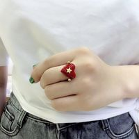 Brand design lock red heart ring for women vintage copper jewelry five star finger rings luxury brand fashion love jewelry