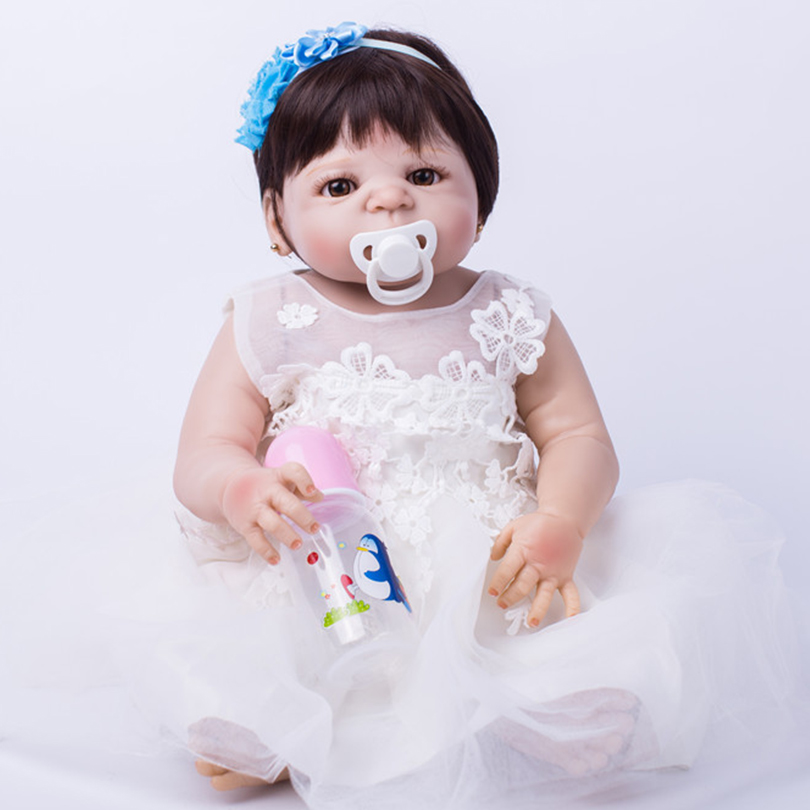 Silicone Reborn Baby Dolls Princess Girls with Pacifier Bottle Real Alive Dolls White Lovely Sleep Accompany Toy Dolls for Kids