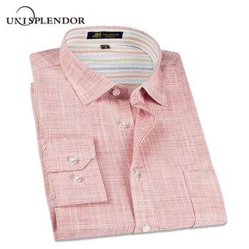 33e87dd5b896f37 2019 новая весенняя льняная Повседневная рубашка мужская с длинным рукавом  классическая мужская рубашка приталенная однотонная мужская