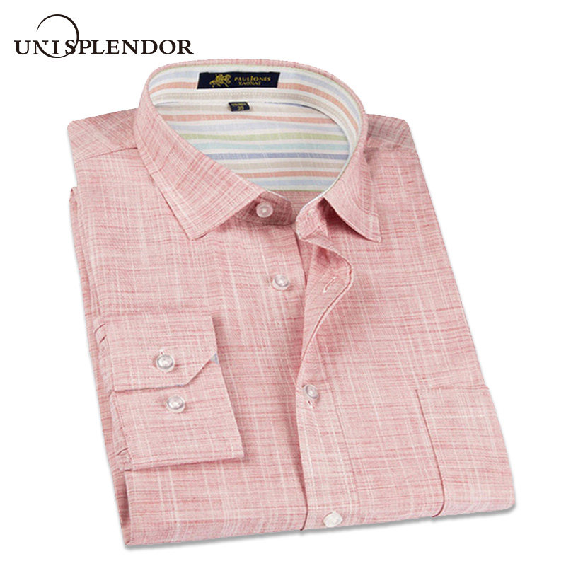 2019 New Spring Linen Casual Shirt Men Long Sleeve Classic Men's Dress Shirts Slim Fit Solid Color Man Fashion Shirt 3XL YN10011