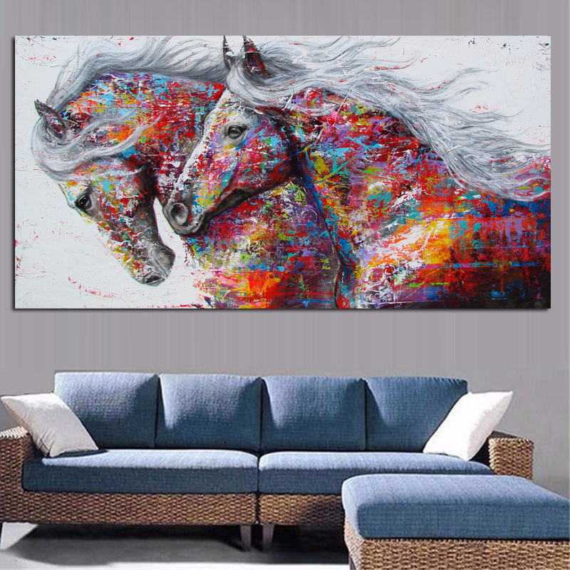 Large Horse Painting On Canvas