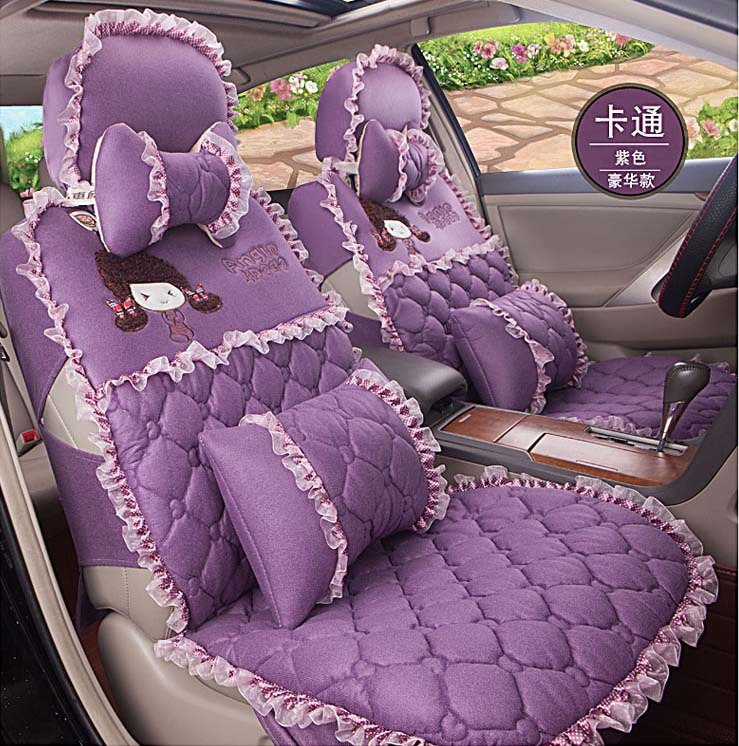 2016 new arrival 5 pieces / set women car seat covers cushion girls pink lace lady cartoon plush car seat cover cushion